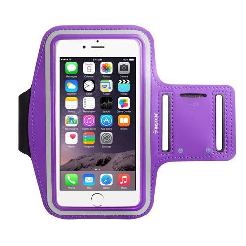 "Insten Universal Sports Armband 6.49"" x 3.74"" with Key Holder, Purple"