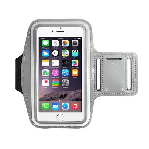 """Insten Universal Sports Armband 6.49"""" x 3.74"""" with Key Holder, Silver"""