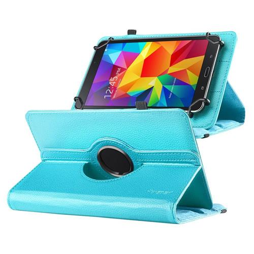 "Insten Universal 7"" Tablet 360-degree Swivel Leather Case, Baby Blue"
