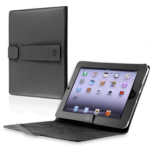 Insten Folio Leather Fabric Case w/stand For Apple iPad 1, Black