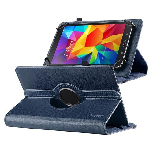 "Insten Universal 7"" Tablet 360-degree Swivel Leather Case, Navy Blue"
