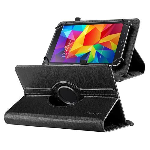 """Insten Universal 7"""" Tablet 360-degree Swivel Leather Case, Black"""