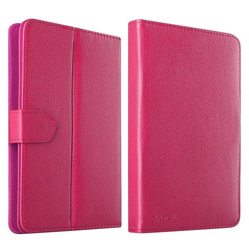 Insten Stand Leather Case compatible with 7-inch tablet, Hot Pink