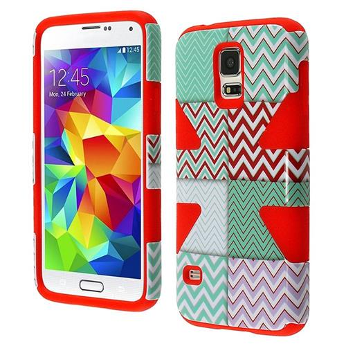 Insten Dynamic Chevron Hard Dual Layer Silicone Case For Samsung Galaxy S5, Mint Green/Red