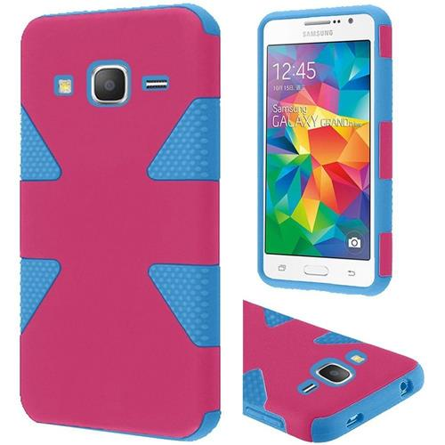 Insten Dynamic Hard Hybrid Rubber Silicone Case For Samsung Galaxy Grand Prime, Hot Pink/Blue