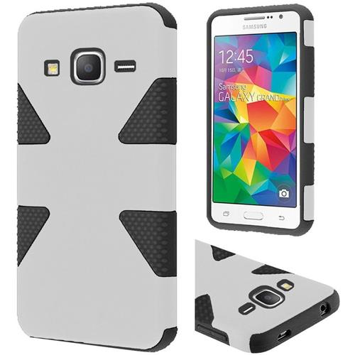 Insten Dynamic Hard Hybrid Rubber Silicone Cover Case For Samsung Galaxy Grand Prime, White/Black