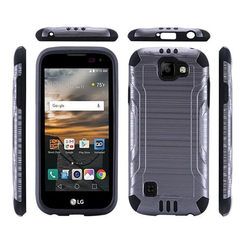 Insten Hard Dual Layer Rubber Coated Silicone Cover Case For LG K3, Gray/Black