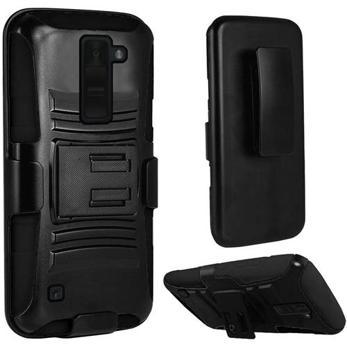 Insten Hard Hybrid Plastic Silicone Case w/Holster For LG K8V, Black