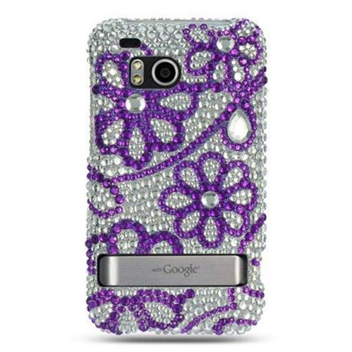 Insten Hard Diamond Case For HTC ThunderBolt 4G, Purple/White