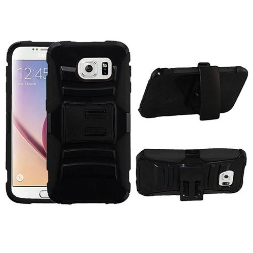Insten Armor Hard Dual Layer Plastic Silicone Case w/Holster For Samsung Galaxy S6, Black
