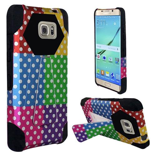 Insten Polka Dots Hard Hybrid Plastic Silicone Case For Samsung Galaxy S7 Edge, Colorful/Black
