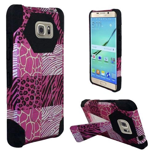 Insten Exotic Skins Hard Plastic Silicone Case w/stand For Samsung Galaxy S7 Edge, Hot Pink/Black