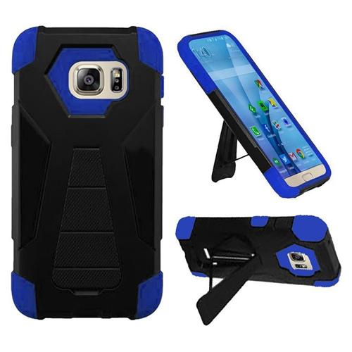 Insten Hard Dual Layer Plastic Silicone Case w/stand For Samsung Galaxy S7, Black/Blue