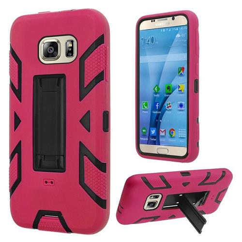 Insten Soft Dual Layer Rubber Hard Case w/stand For Samsung Galaxy S7, Hot Pink/Black