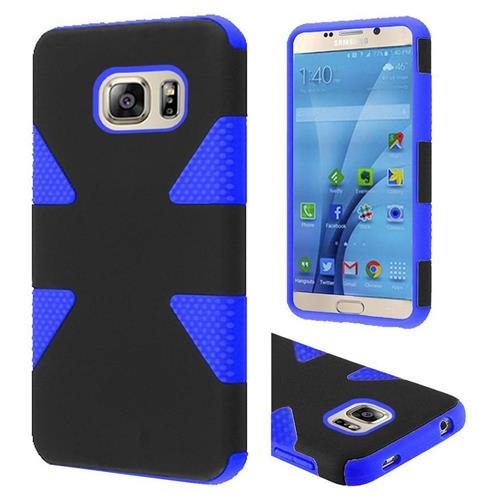 Insten Dynamic Hard Hybrid Rubberized Silicone Case For Samsung Galaxy S7, Black/Blue