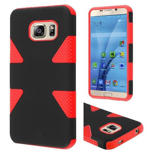 Insten Dynamic Hard Dual Layer Rubber Silicone Case For Samsung Galaxy S7, Black/Red