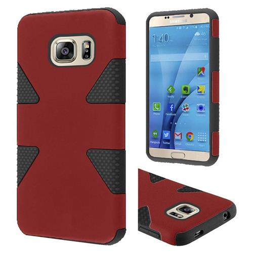Insten Dynamic Hard Hybrid Rubberized Silicone Cover Case For Samsung Galaxy S7, Red/Black