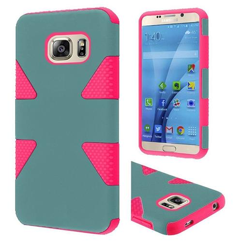 Insten Dynamic Hard Hybrid Rubber Coated Silicone Case For Samsung Galaxy S7, Teal/Hot Pink