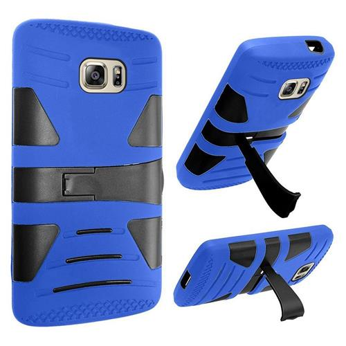 Insten Hard Hybrid Rubber Silicone Cover Case w/stand For Samsung Galaxy S7, Blue/Black