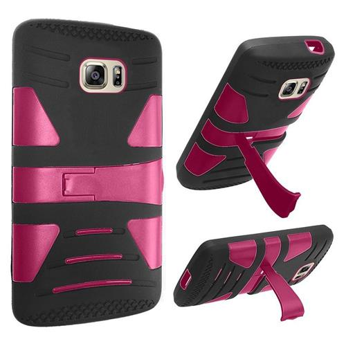 Insten Hard Dual Layer Rubber Silicone Cover Case w/stand For Samsung Galaxy S7, Black/Hot Pink
