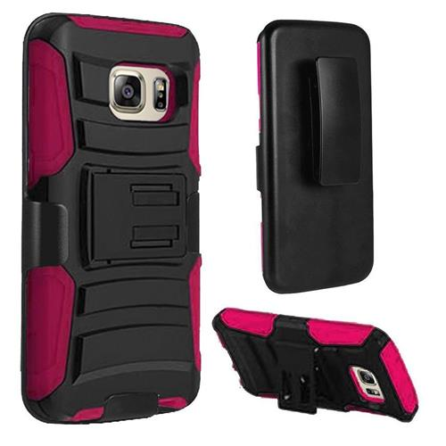 Insten Hard Dual Layer Plastic Silicone Cover Case w/Holster For Samsung Galaxy S7, Black/Hot Pink