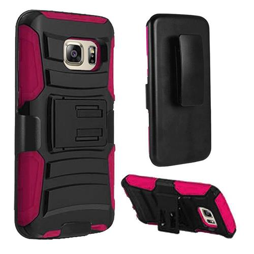 Insten Hard Hybrid Plastic Silicone Cover Case w/Holster For Samsung Galaxy S7 Edge, Black/Hot Pink