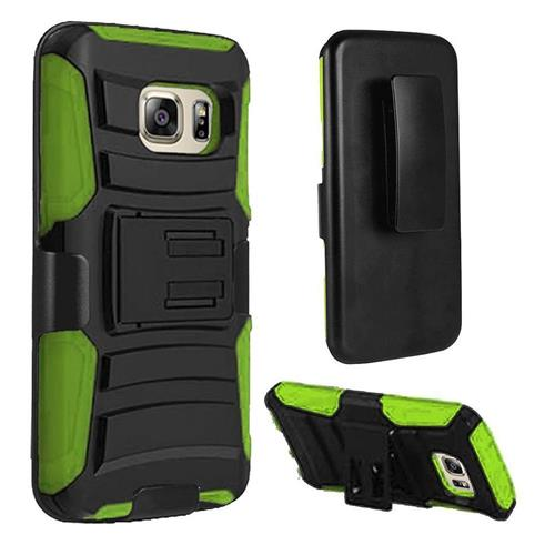 Insten Hard Hybrid Plastic Silicone Cover Case w/Holster For Samsung Galaxy S7 Edge, Black/Green