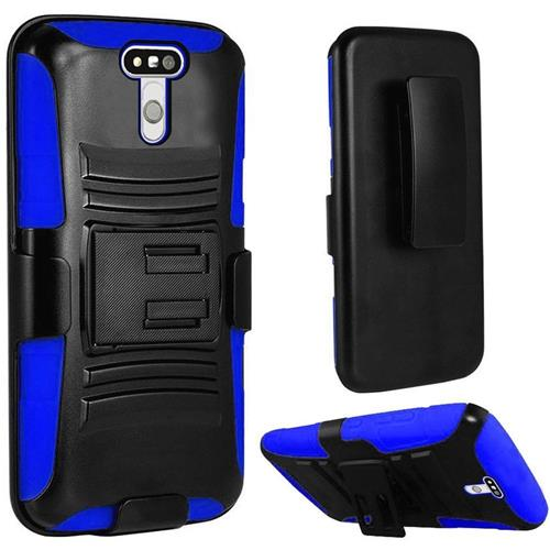 Insten Hard Dual Layer Plastic Silicone Case w/Holster For LG G5, Black/Blue
