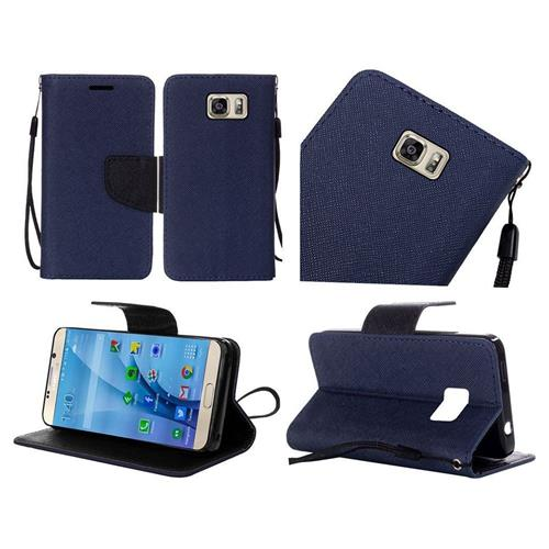 Insten Flip Leather Fabric Case Lanyard w/stand For Samsung Galaxy S7, Blue/Black