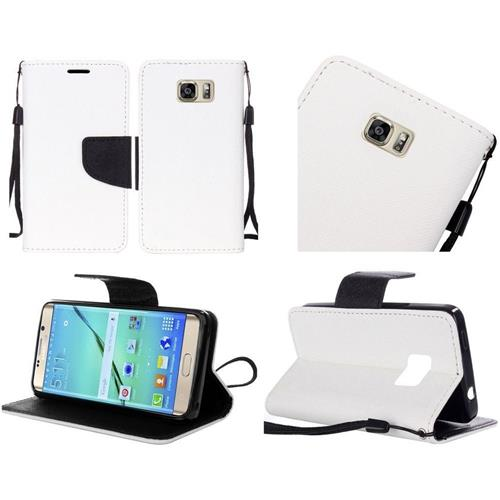 Insten Book-Style Leather Fabric Cover Case Lanyard w/stand For Samsung Galaxy S7 Edge, White/Black