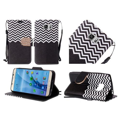 Insten Chevron Flip Leather Fabric Case Lanyard w/stand/Diamond For Samsung Galaxy S7, Black/White