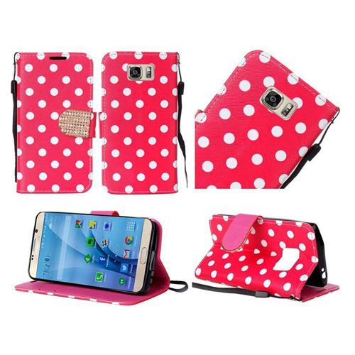 Insten Polka Dots Folio Leather Fabric Case Lanyard w/stand For Samsung Galaxy S7, Red/White