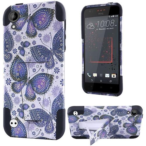 Insten Butterfly Flower Hard Plastic Silicone Case w/stand For HTC Desire 530/550/555, Blue/White