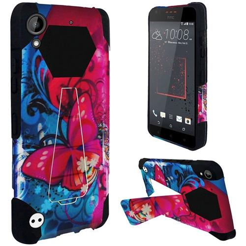 Insten Butterfly Bliss Hard Hybrid Rubber Silicone Case w/stand For HTC Desire 530/550/555, Blue/Red