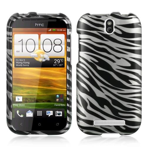 Insten Hard Rubber Case For HTC One SV, Silver/Black