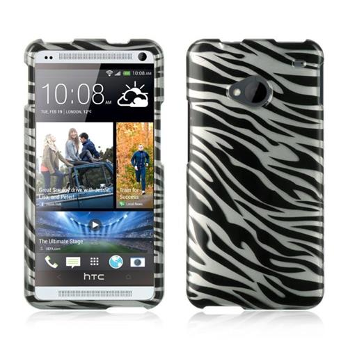 Insten Hard Rubber Cover Case For HTC One M7, Silver/Black