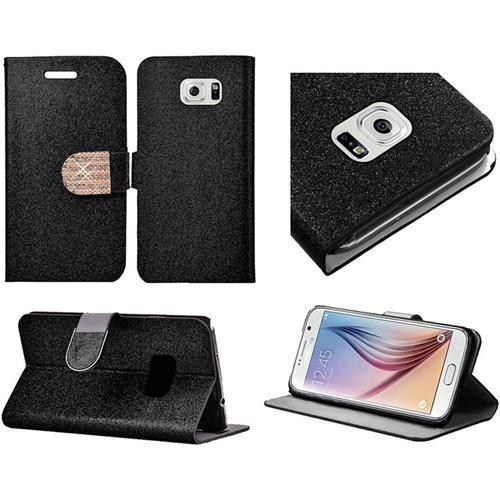 Insten Flip Leather Glitter Case w/stand/card holder/Diamond For Samsung Galaxy S6, Black/Gold