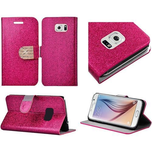 Insten Flip Leather Glitter Case w/stand/card holder/Diamond For Samsung Galaxy S6, Hot Pink/Gold
