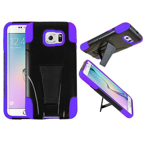 Insten Hard Hybrid Plastic Silicone Cover Case w/stand For Samsung Galaxy S6 Edge, Black/Purple