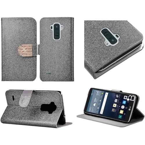 Insten Folio Leather Glitter Cover Case w/stand/card holder/Diamond For LG G Stylo, Silver/Gold