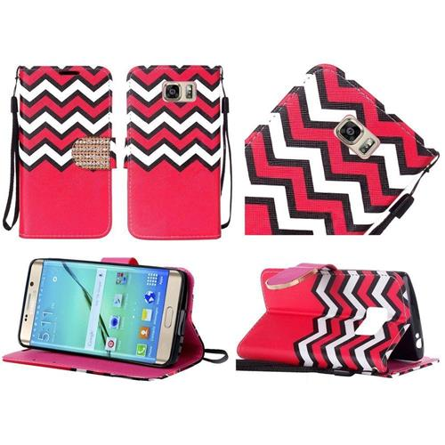 Insten Chevron Book-Style Leather Fabric Case Lanyard w/stand For Samsung Galaxy S7 Edge, Red/White