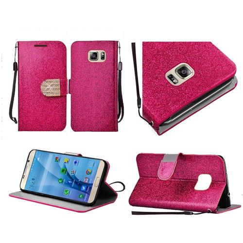Insten Book-Style Leather Glitter Case Lanyard w/stand/Diamond For Samsung Galaxy S7, Hot Pink/Gold