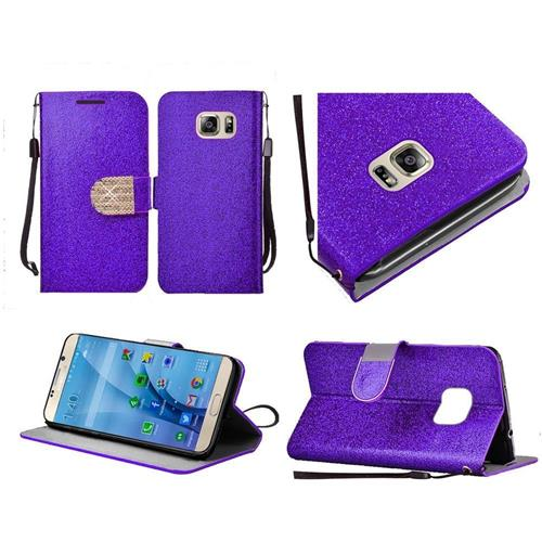 Insten Book-Style Leather Glitter Case Lanyard w/stand/Diamond For Samsung Galaxy S7, Purple/Gold