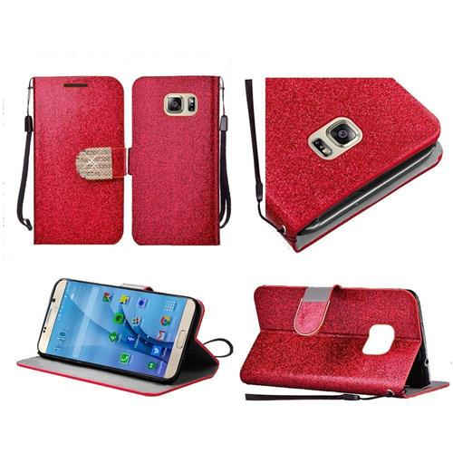 Insten Folio Leather Glitter Case Lanyard w/stand/Diamond For Samsung Galaxy S7, Red/Gold