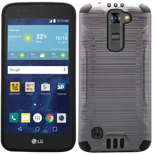 Insten Hard Dual Layer Rubber Silicone Cover Case For LG K7, Gray/Black