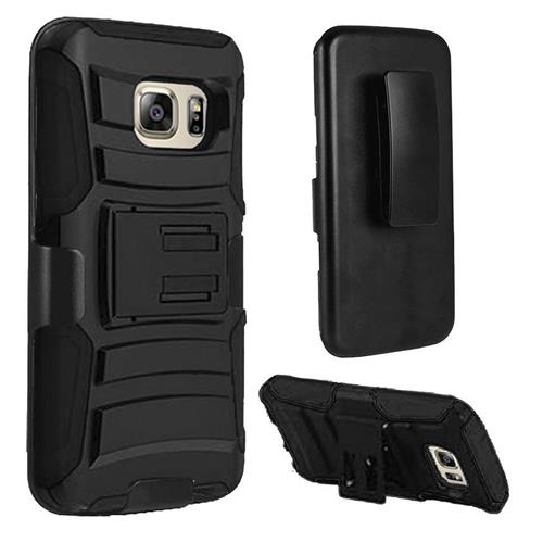 Insten Hard Hybrid Plastic Silicone Cover Case w/Holster For Samsung Galaxy S7, Black
