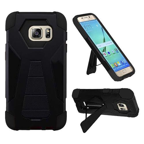 Insten Hard Dual Layer Plastic Silicone Cover Case w/stand For Samsung Galaxy S7 Edge, Black