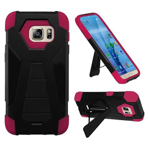 Insten Hard Hybrid Plastic Silicone Case w/stand For Samsung Galaxy S7, Black/Hot Pink