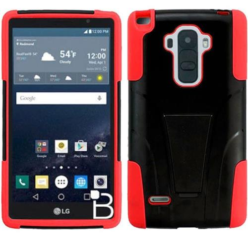Insten Hard Dual Layer Plastic Silicone Case w/stand For LG G Stylo, Black/Red