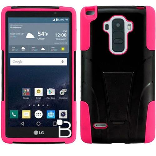 Insten Hard Dual Layer Plastic Silicone Cover Case w/stand For LG G Stylo, Black/Hot Pink